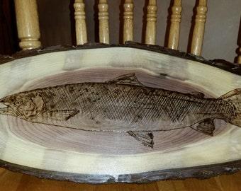 Salmon fish wood burning