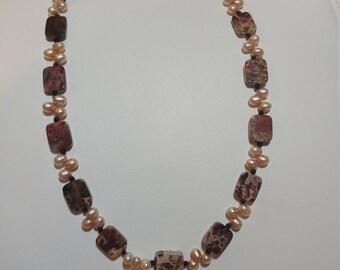 Vintage Jasper & Genuine Pearls Sterling Silver Necklace
