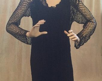 SALE! Black Crochet Dress 70's  Hippie Boho Chic ~ Retro Rocker ~