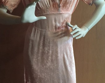 Rare 1920's Swiss Satin Peach Negligee/Lingerie/Nightgown/Dress