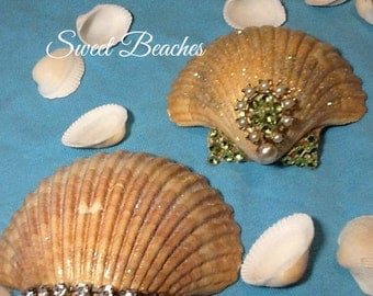 Jeweled Sea Shell Set of 2 Beach Seaside Nautical Cabana Decor Wedding