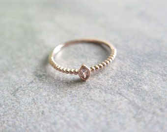 Oval CZ silver ring / Sterling silver point CZ Ring / 925 silver stacking ring / Simple CZ ring / Rose gold Ring