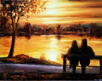 Sunset over water, Bury Lake, Gift for him or Gift for her Anniversary Gift. Original Oil painting, Romantic Painting. Home decor Wall art