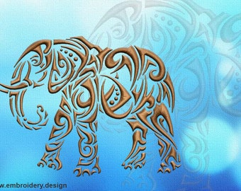 Walking elephant embroidery design - downloadable - 3 sizes