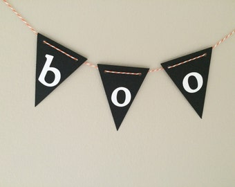 Halloween Boo Bunting - Mini Garland Tiny Garland - Halloween Decorations Cake Topper - Black and White - Orange and White - Trick or Treat