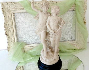 Antique 1800's French Bisque Sculpture Statue based on Auguste Moreau, Romantic Love Couple, France Château Home Décor, Signed by Artist