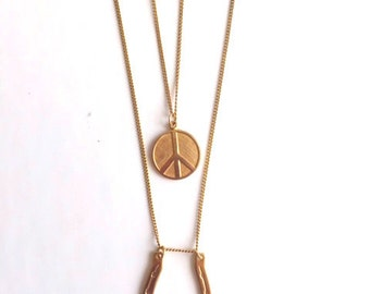 Peace and Luck Gold Necklace