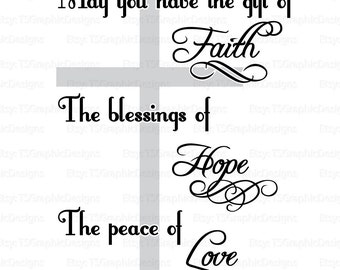 svg, silhouette, dfx, png, eps, jpg, pdf – Christian – Faith / Hope / Love - Digital Cut Files - Vinyl or Other Materials
