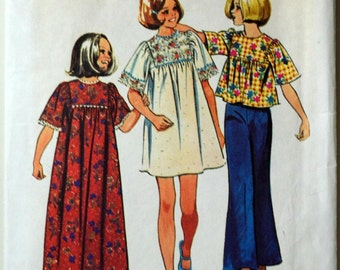 Uncut 1970s Simplicity Vintage Sewing Pattern 6123, Size 7; Girls' Dress in Two Lengths or Top
