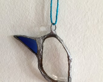 Stained glass Hummingbird necklace found glass bird sculpture jewelry