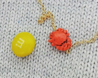 Tiny Crab necklace on a 18 inch gold plated or sterling silver chain.