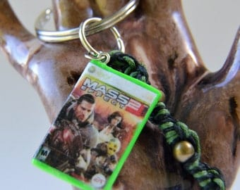 Handmade polymer clay keychain, inspired by Mass Effect, inspired by xbox 360, miniature video game, video game key chain