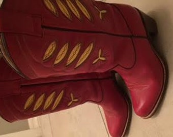 Red Sassoon Vintage cowboy boots size 6