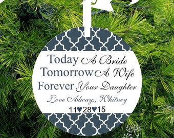Today A Bride, Tomorrow A Wife, Forever Your Daughter Personalized Porcelain Christmas Ornament - Item# TM02 - lovebirdschristmas
