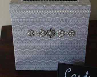 Elegant Wedding Card Box! Bling Wedding Card Box, Silver Wedding Decor, Neutral Toned Wedding Card Box, Bling Wedding Decor