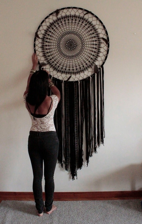 in stock large dream catcher wall hanging boho black. Black Bedroom Furniture Sets. Home Design Ideas