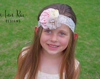 Cream and Pink Headband Baby Girl Headband Cream Baby Headband Infant Headband Pink Flower Girl Headband Wedding Headband Toddler Headband