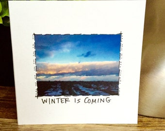 Winter is coming, Game of Thrones card, Winter is coming card, GOT card, fifth floor view handmade card