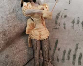 Little boudoir doll antique, shabby old small French bending doll