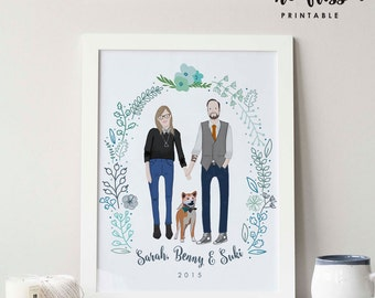 Custom Couple Portrait | Family Portrait | Poster | Digital Illustration | Drawing | Wall Art