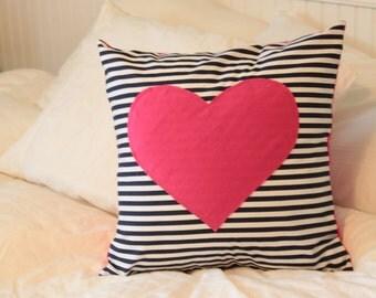 Navy Stripe Heart Pillow Cover