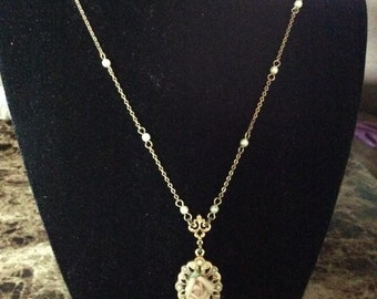 Vintage Filigree Necklace with Rose
