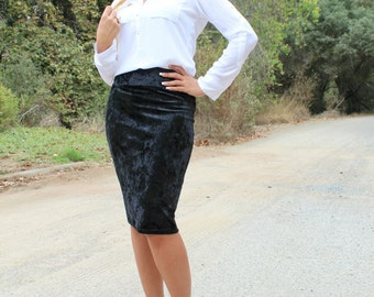 Black Velour Fitted Stretch Pencil Skirt, Black Midi Skirt