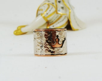 Copper ring Crown ring Queen ring Unique ring Bohemian ring Copper jewelry Gihts for him  Gihts for her King  ring Mens ring Womens ring