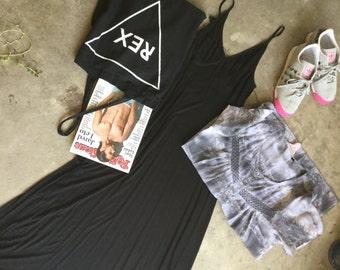 Long Slip dress/Casual house dress/ with adjustable straps in Black/ slip dress in knit black jersey below the knee