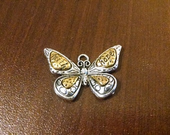 1pc - Antique Silver and Gold Butterfly Charm - Faith Hope Butterfly Pendant - Jewelry - Butterfly Necklace - 31mm x 22mm B19