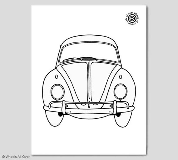coloring book page volkswagen beetle classic car colouring