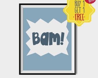 Bam quote, baby boy nursery wall decor, nursery art boy, Kids wall art, nursery decor boy, baby room prints, kids room poster, baby prints
