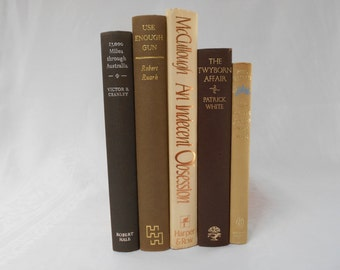 Chocolate and Cream Collection Vintage Books, Instant Library, Books for Decor