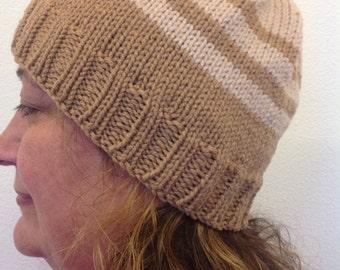 Camel/beige striped knit hat