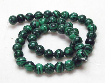 "Very Nice 15"" Strand of 8mm Round Malachite Dyed Stone Beads With Great Rich Green Colors"