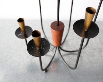 MCM Candelabra, Black enamel Metal, Teak wood, Brass, Spindle, 7 candle holder