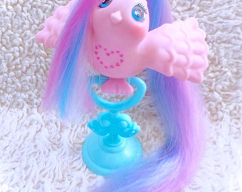 G1 1987 TRUE LOVE Tails Fairy Tails Fairytails Bird Vintage Rare My Little Pony Friends Pink Heart Clip On Perch Stand GORGEOUS Hasbro Birdy