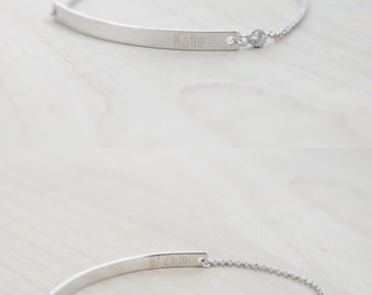 Bridesmaid Jewelry - Will you be my bridesmaid? - Bridesmaid Proposal (Silver Bar Bracelet with CZ)