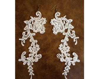 Handmade long lace earrings - boho bridal earrings - statement earrings - avant garde earrings - white floral Venetian lace