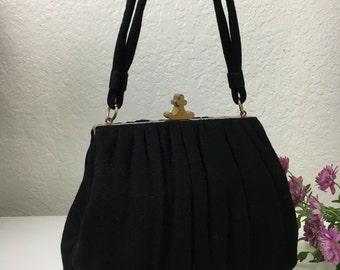40's Queen of Clubs Black Wool Handbag