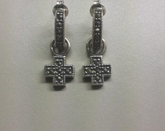Sterling Silver .925 Cross Crucifix Mascasite Earrings