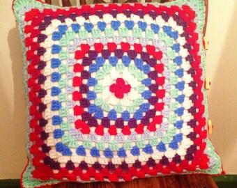 Contemporary crochet granny cushion Blue Red Pink Retro Vintage