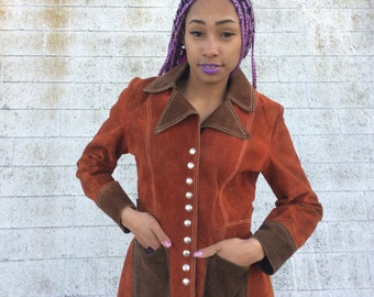 Vintage 1970s Rust & Brown Suede Leather Jacket w. Silver Snaps, Small
