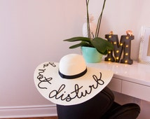 WHITE COLOUR Hat -Customized Summer Hat  - Do not Disturb - Mermaid -  Straw - Fashion, holiday, awesome, Style, beach, MRS, white