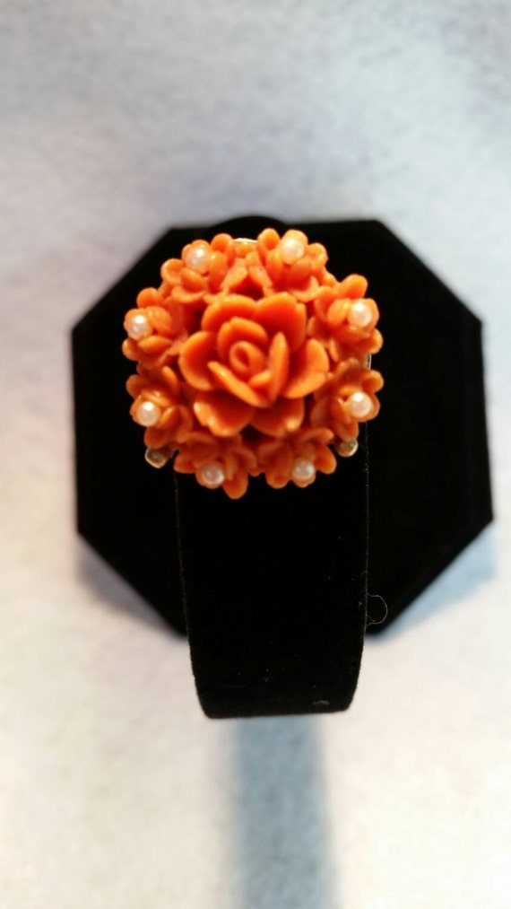 Vintage Faux Coral and Pearl Brooch