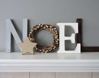 Noel wood letters, Christmas decor, Rustic Wood , Noel Sign, Mantel Decoration
