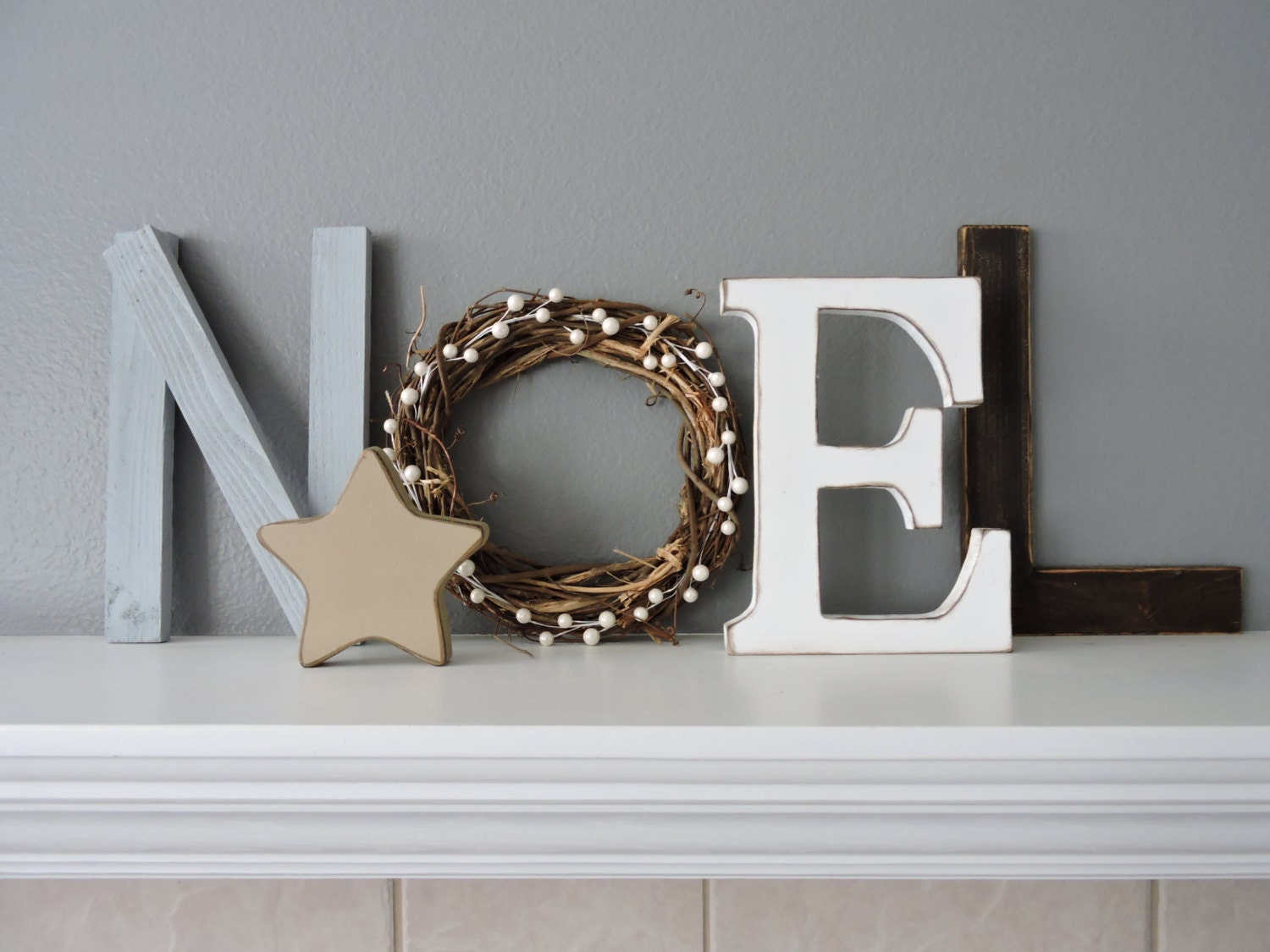 noel wood letters christmas decor rustic wood noel sign. Black Bedroom Furniture Sets. Home Design Ideas