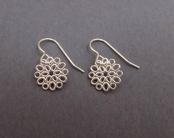 """ON SALE + Free Shipping. Silver Filigree Earrings. Silver Flower Charm. Sterling Silver. Delicate Dainty. Everyday Simple Jewelry 1/2"""""""