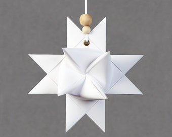 Handmade Paper Star - a folded Nordic Style Christmas Ornament