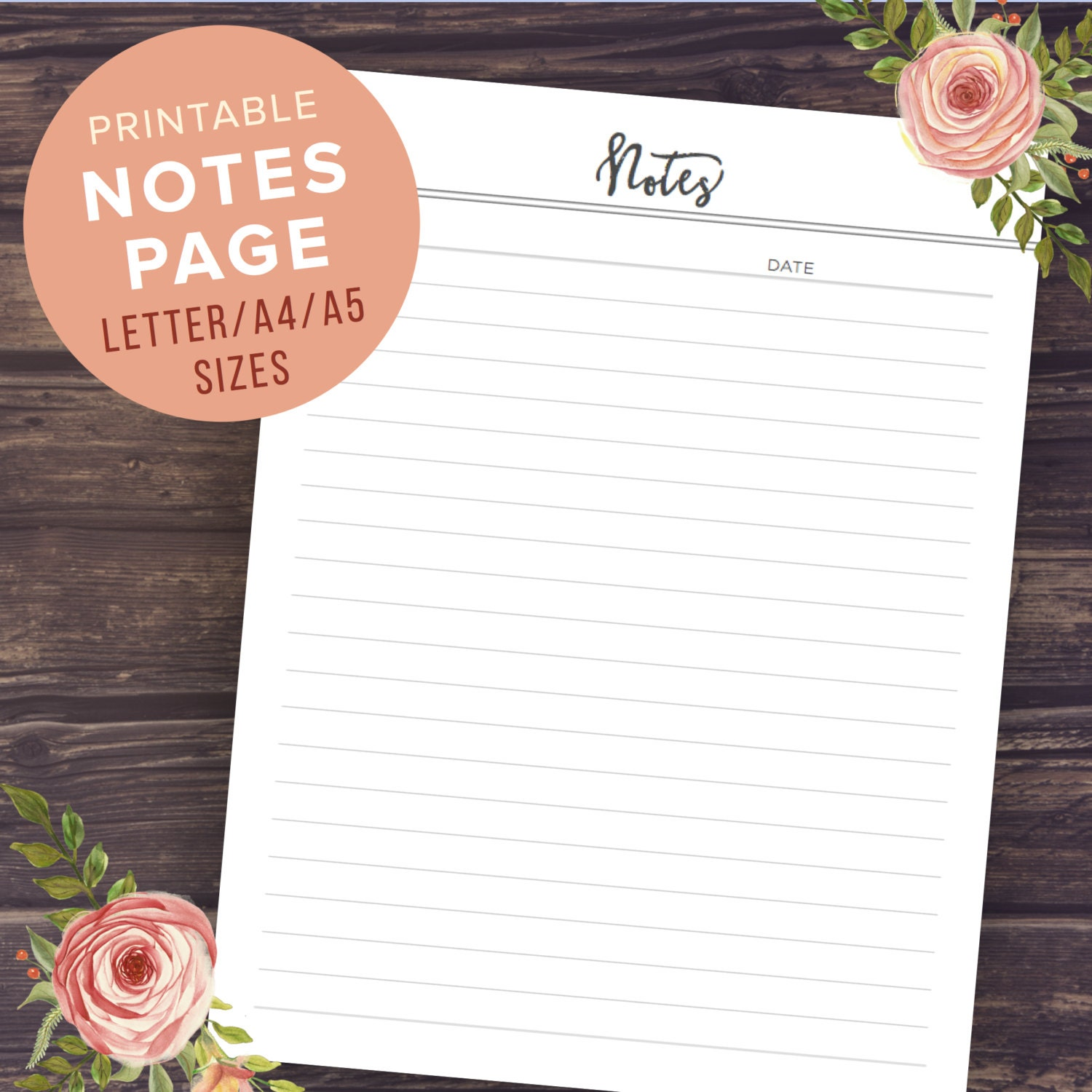 notepad paper template – Printable Notepad Paper